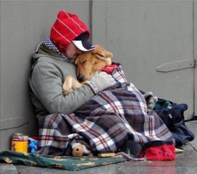 homeless man and dog 1