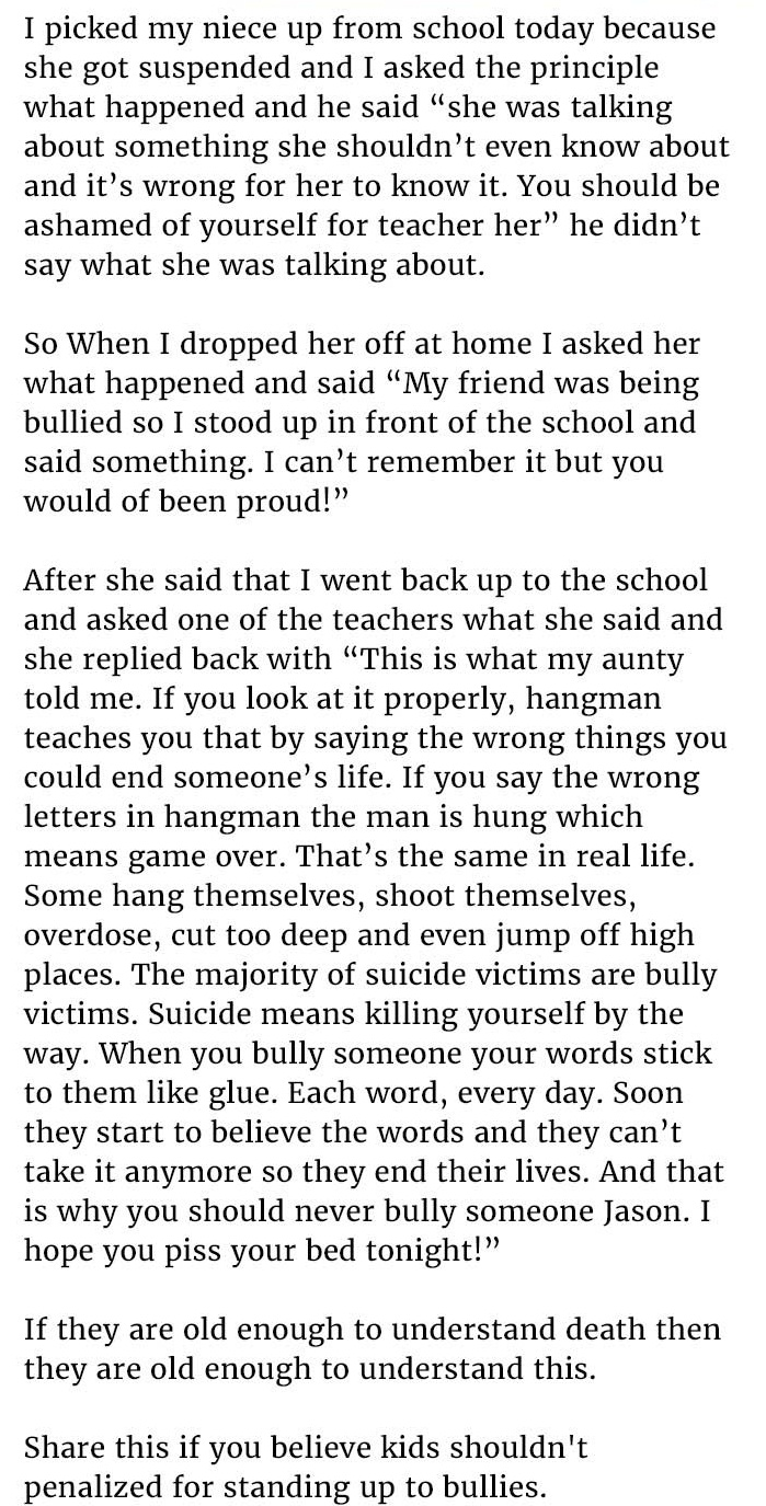 kid stands up against bully