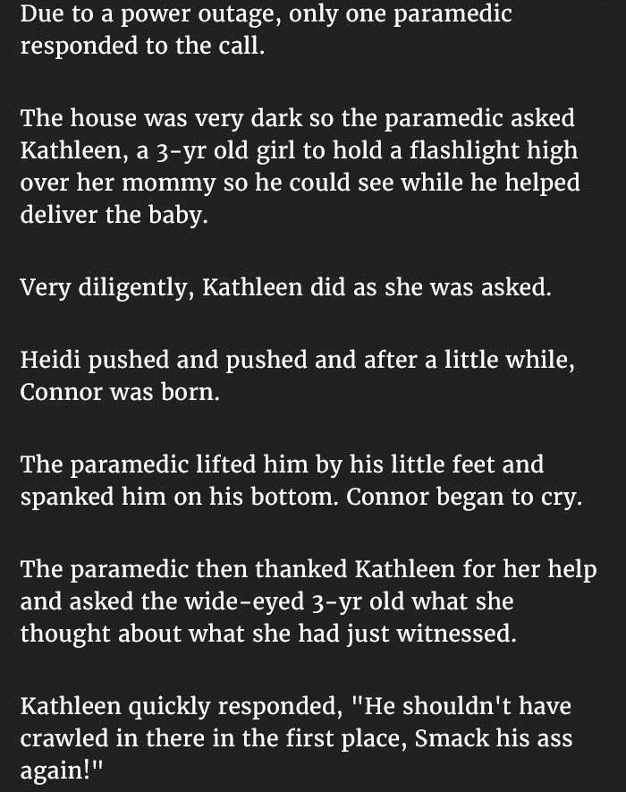 little girl helps deliver baby