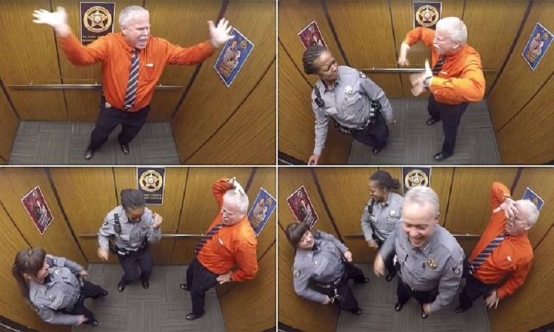 sheriff's deputy elevator dance party