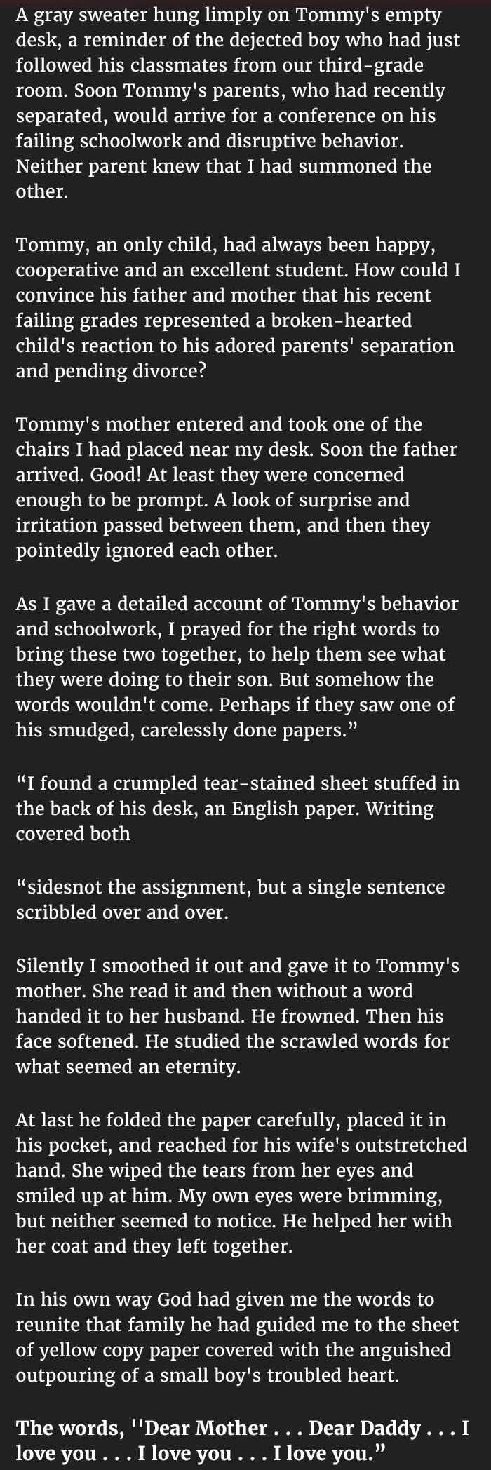 teacher summoned parents