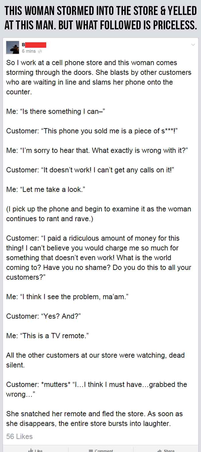 woman yelling at cell phone store