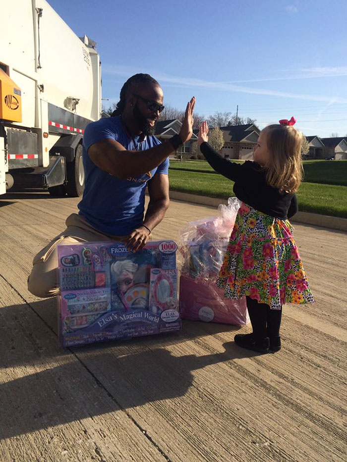 Little Girl Surprise Garbage Man