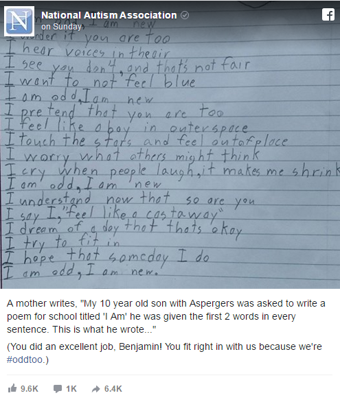 boy with autism writes poem
