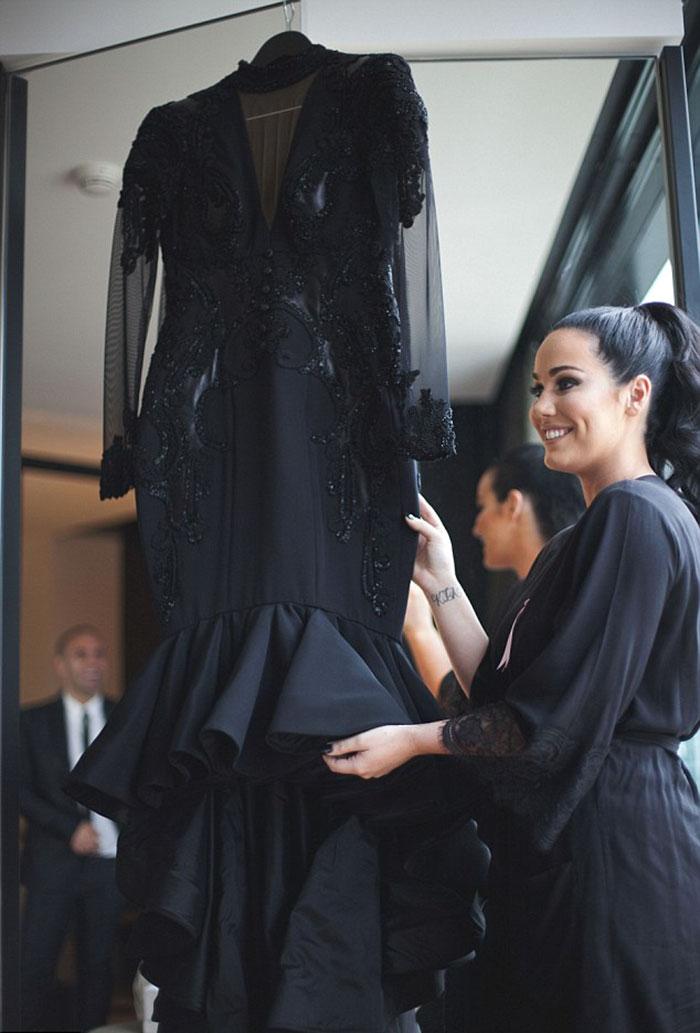 bride married in black wedding dress