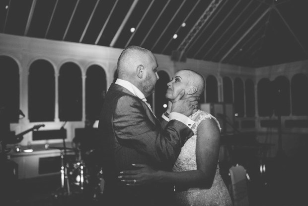 bride shaves her head at wedding