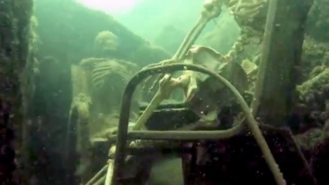 skeleton at river