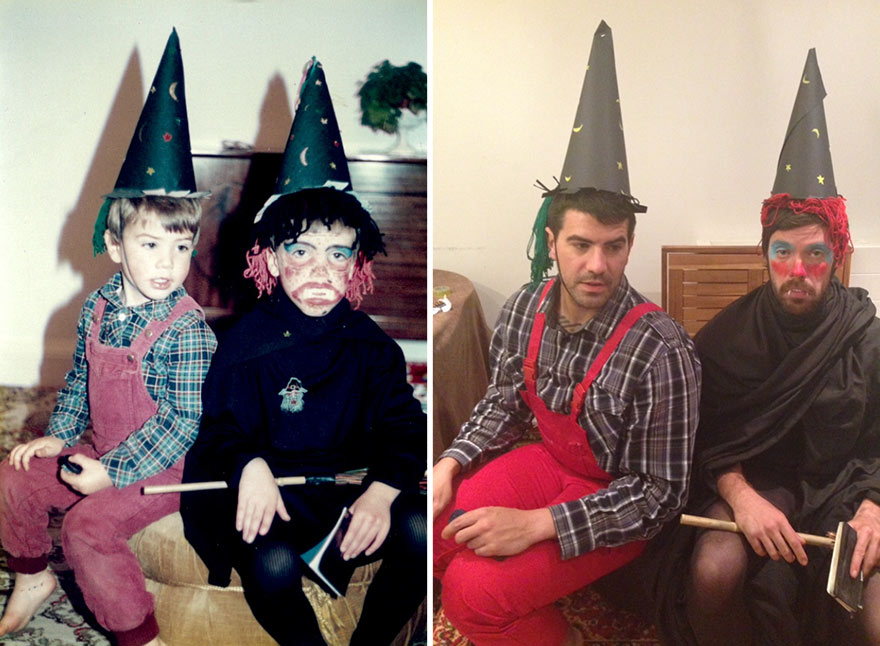 two brothers recreate childhood pictures
