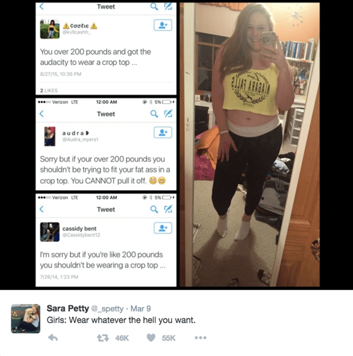 woman shuts down body shamer