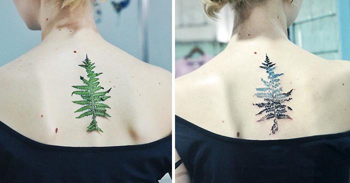 Real leaf tattoo