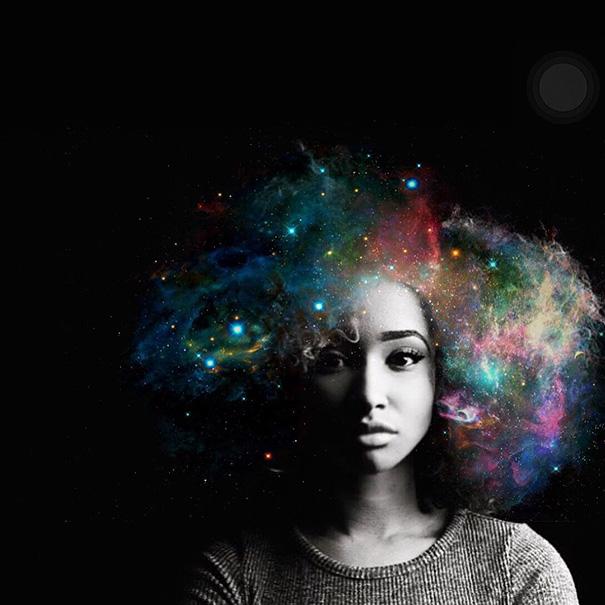 afros flowery galaxy hair