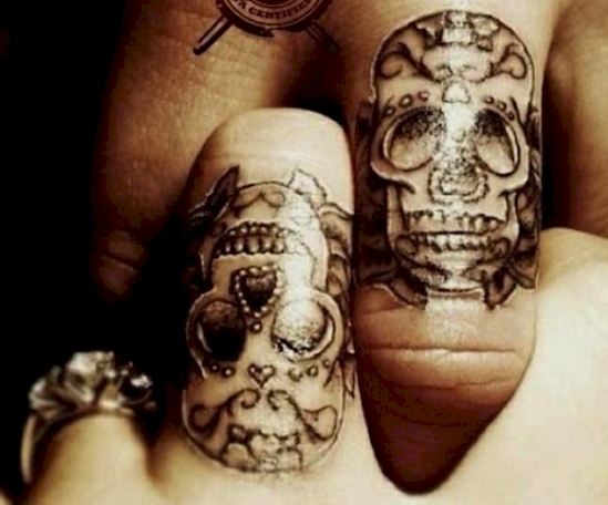 couples wedding ring tattoos 12