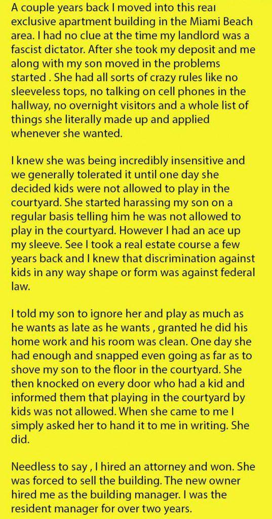 single mom harrassed by landlord