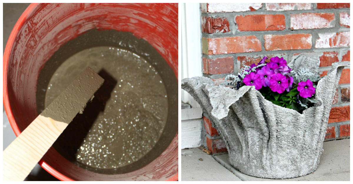 Make your own flower planter using an old towel and cement for Make your own cement