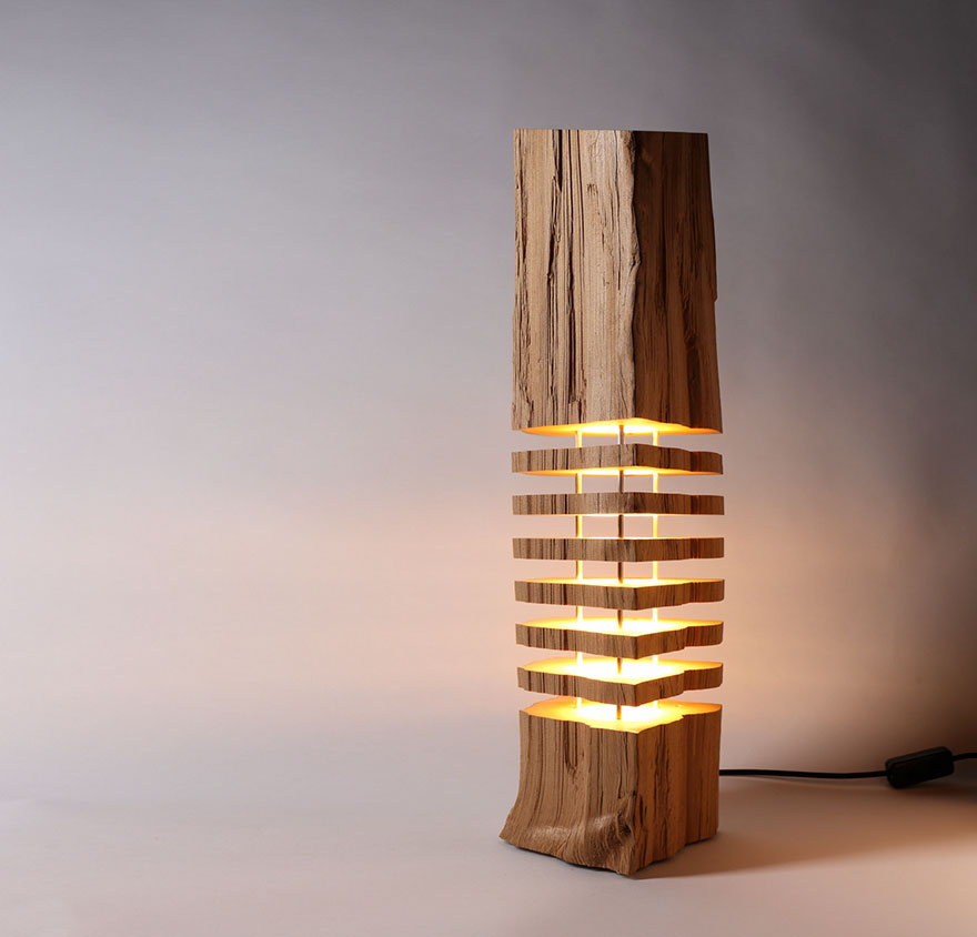Real Firewood Sliced Lamps 1