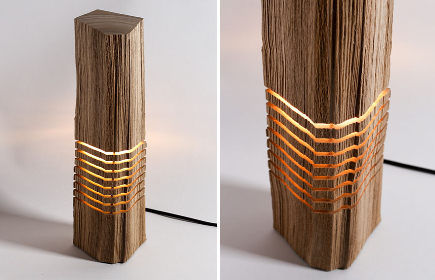 Real Firewood Sliced Lamps 2
