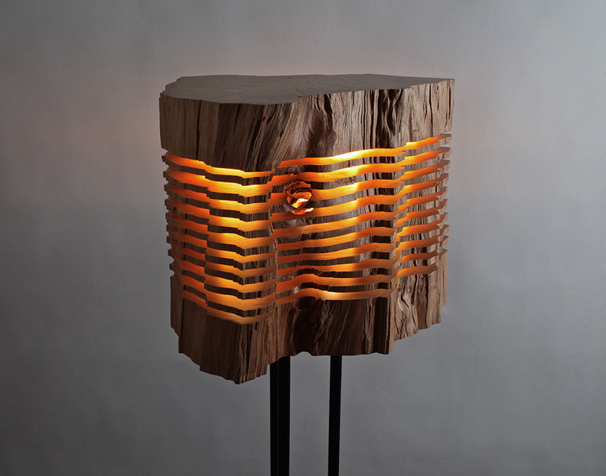 Real Firewood Sliced Lamps 3