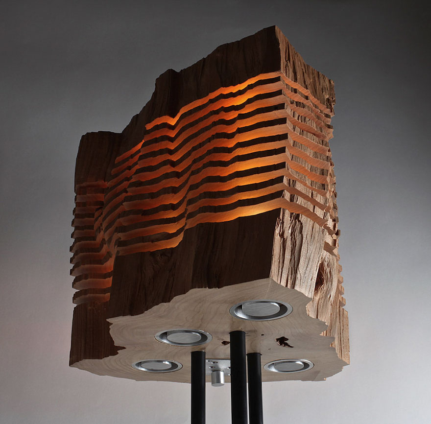 Real Firewood Sliced Lamps 6