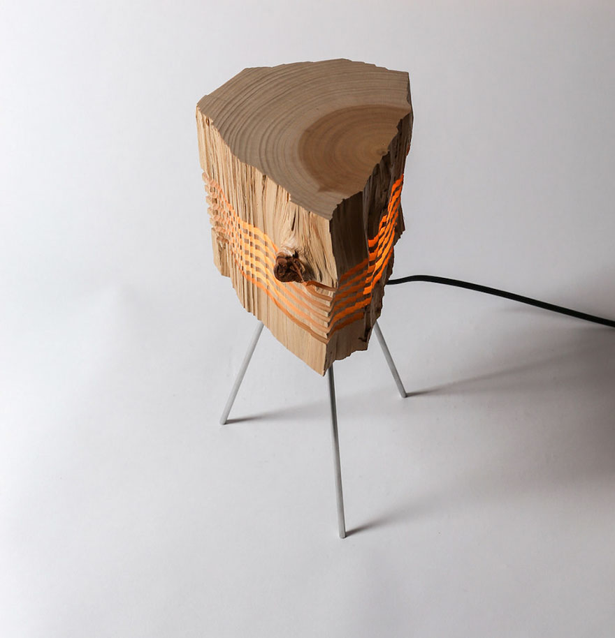 Real Firewood Sliced Lamps 8
