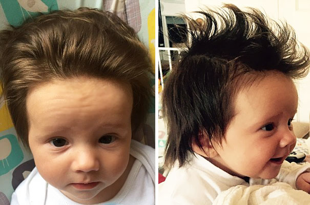 babies born with full hair
