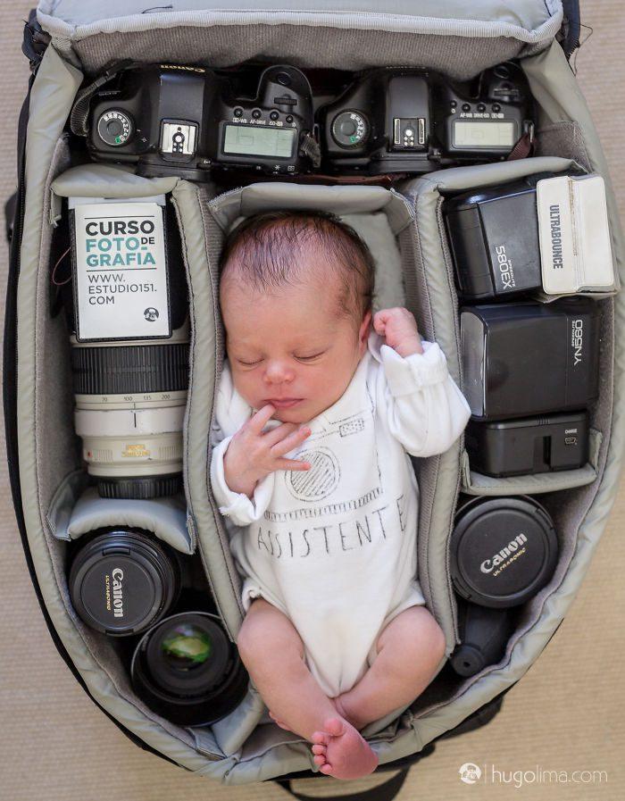 babies sleeping in camera bags 1