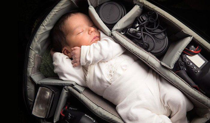 babies sleeping in camera bags 13