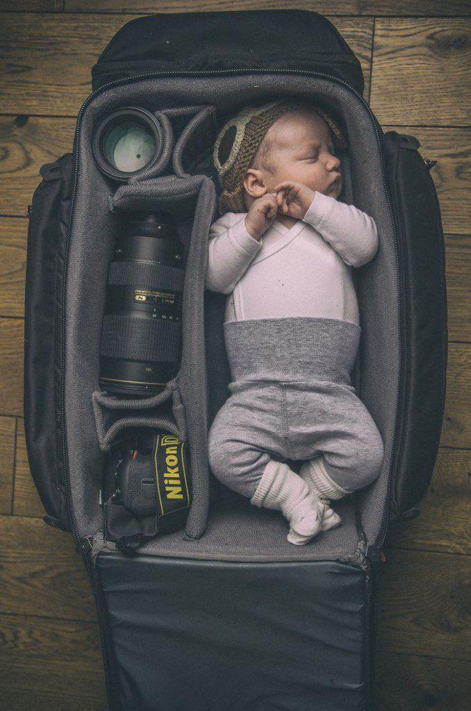 babies sleeping in camera bags 14