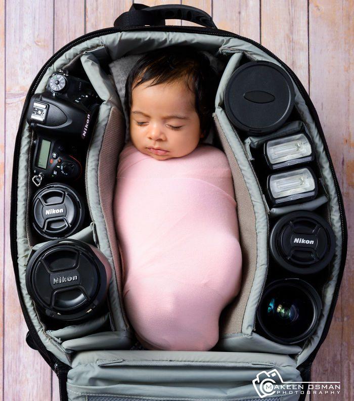 babies sleeping in camera bags 17