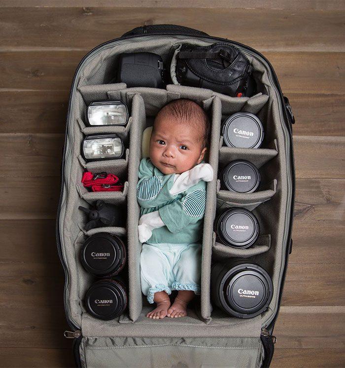 babies sleeping in camera bags 2