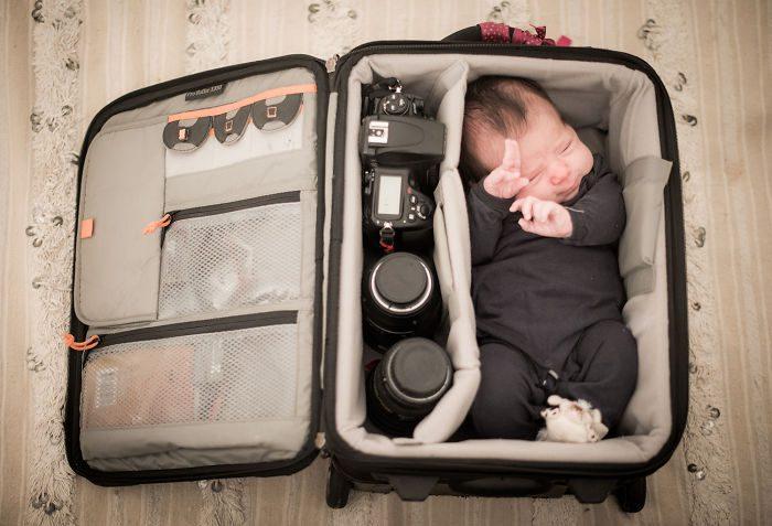 babies sleeping in camera bags 3
