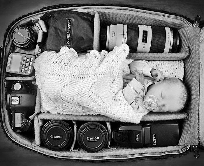 babies sleeping in camera bags 5