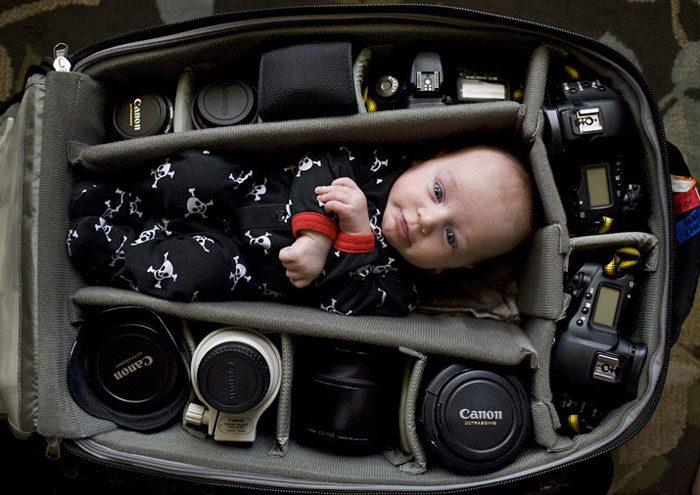 babies sleeping in camera bags 6