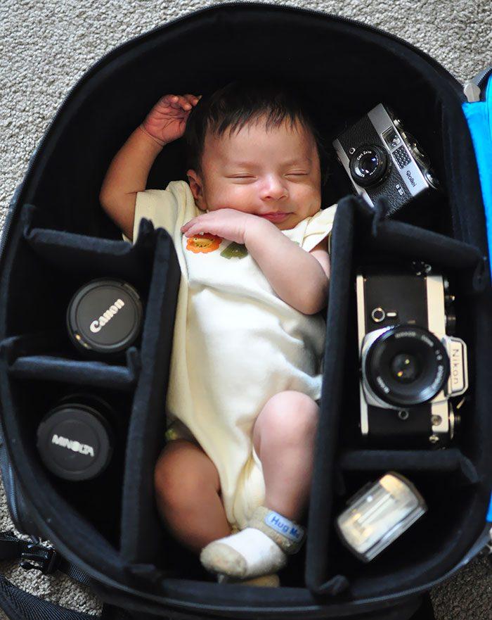 babies sleeping in camera bags 7