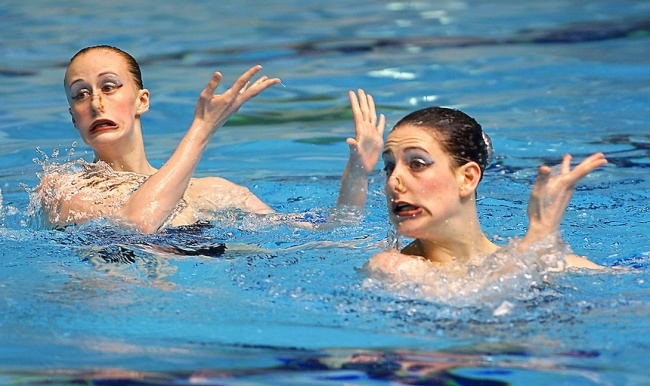 synchronized swimmers' faces 7