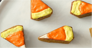 Candy corn pumpkin blondies