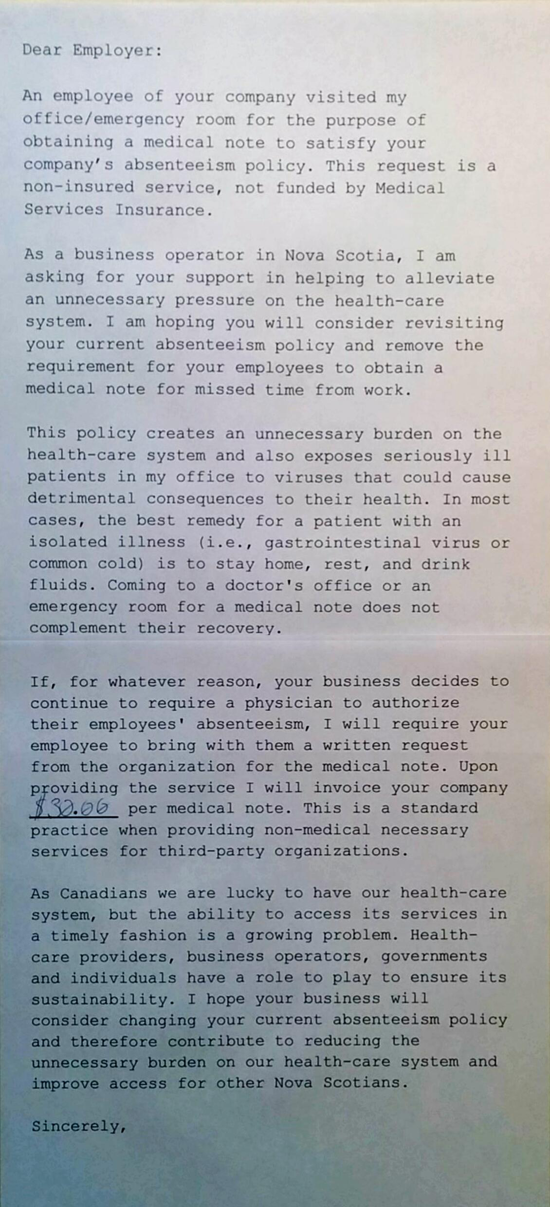 employer requesting doctors note