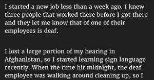 deaf employee