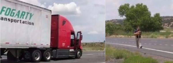 trucker saves dog
