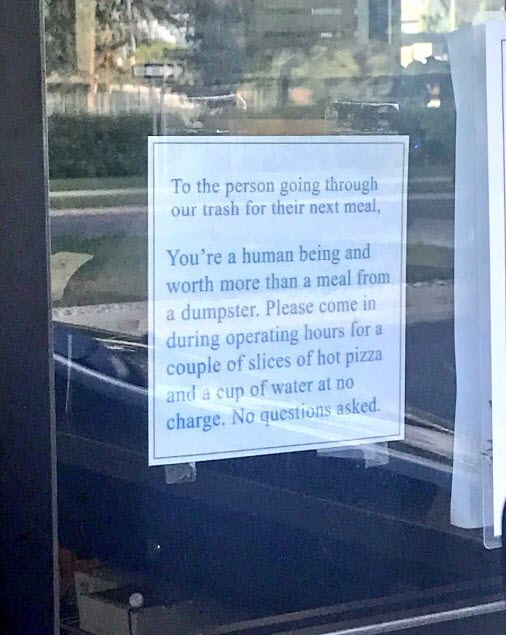 note to the homeless