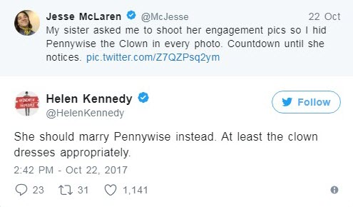 pennywise clown engagement photos