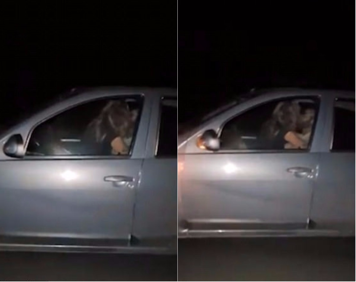 couple having sex while driving