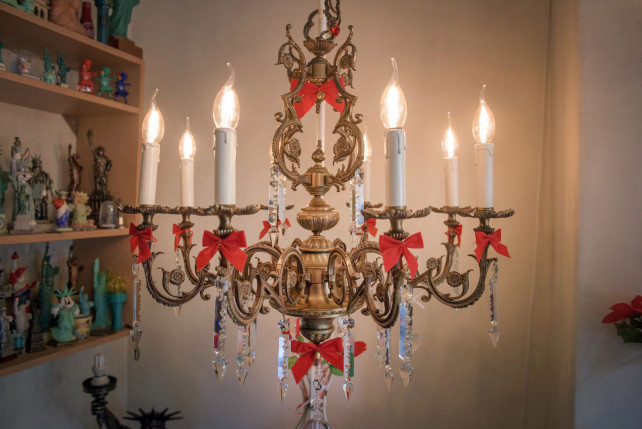 woman engaged to chandelier