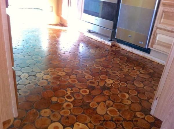 cordwood floor makeover