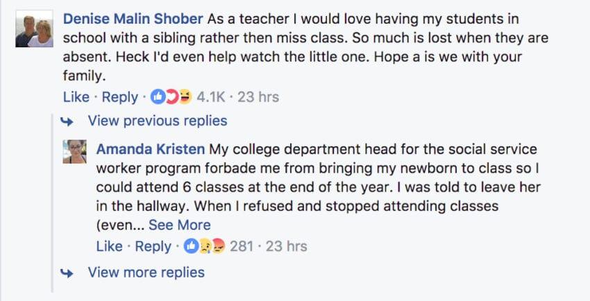 teen brings baby brother to high school