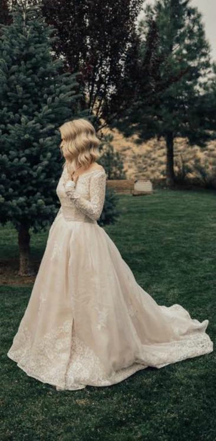 bride wears grandmas wedding dress