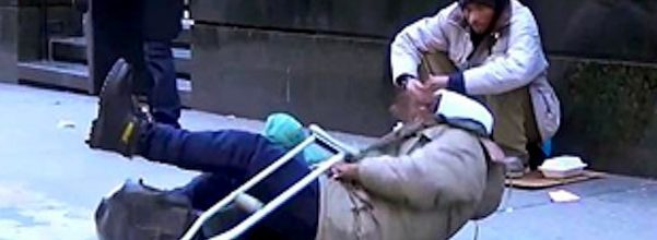 homeless man falls experiment