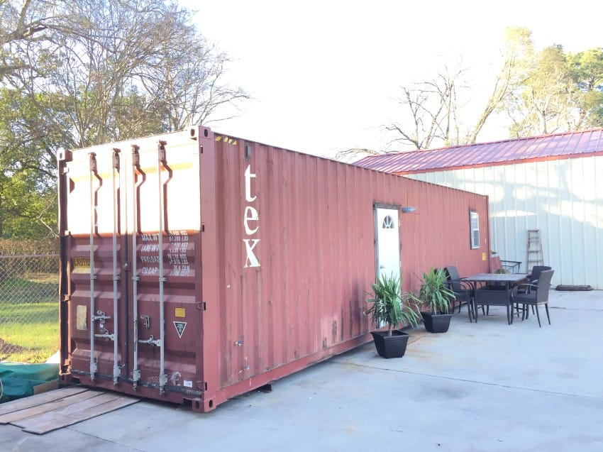 red storage container home
