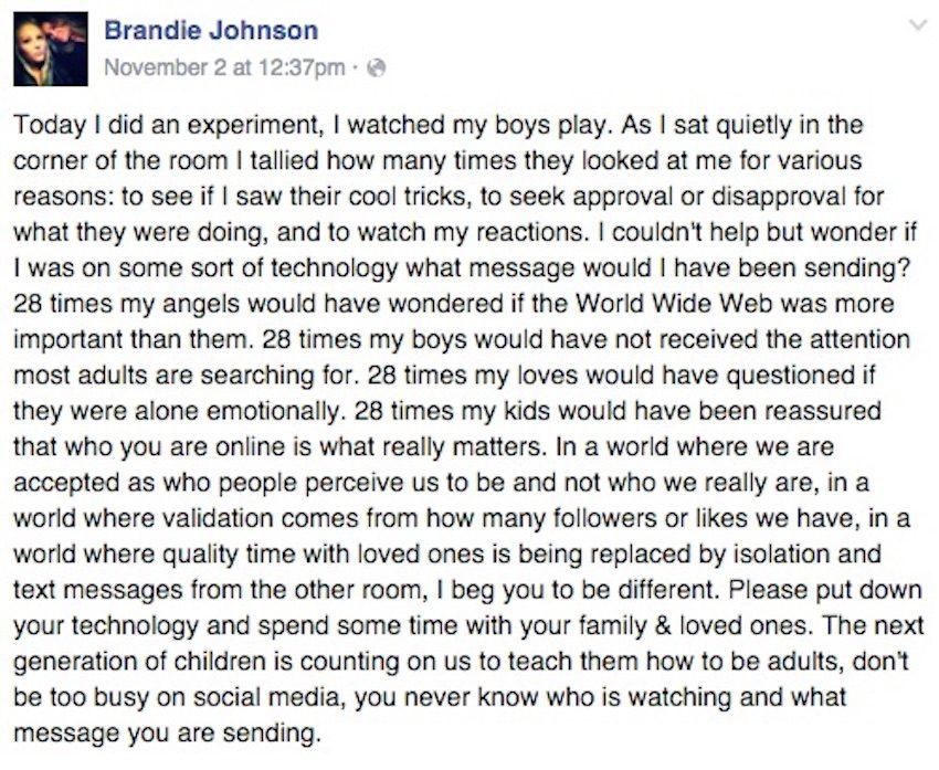 brandie viral parenting post